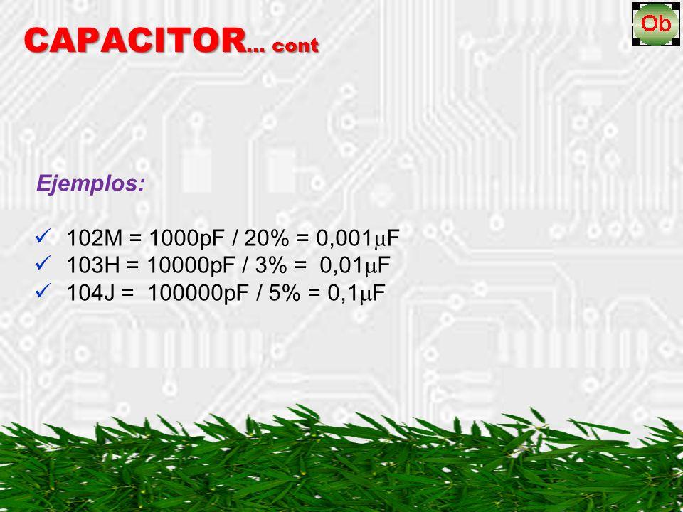 CAPACITOR … cont Ejemplos: 102M = 1000pF / 20% = 0,001 F 103H = 10000pF / 3% = 0,01 F 104J = 100000pF / 5% = 0,1 F