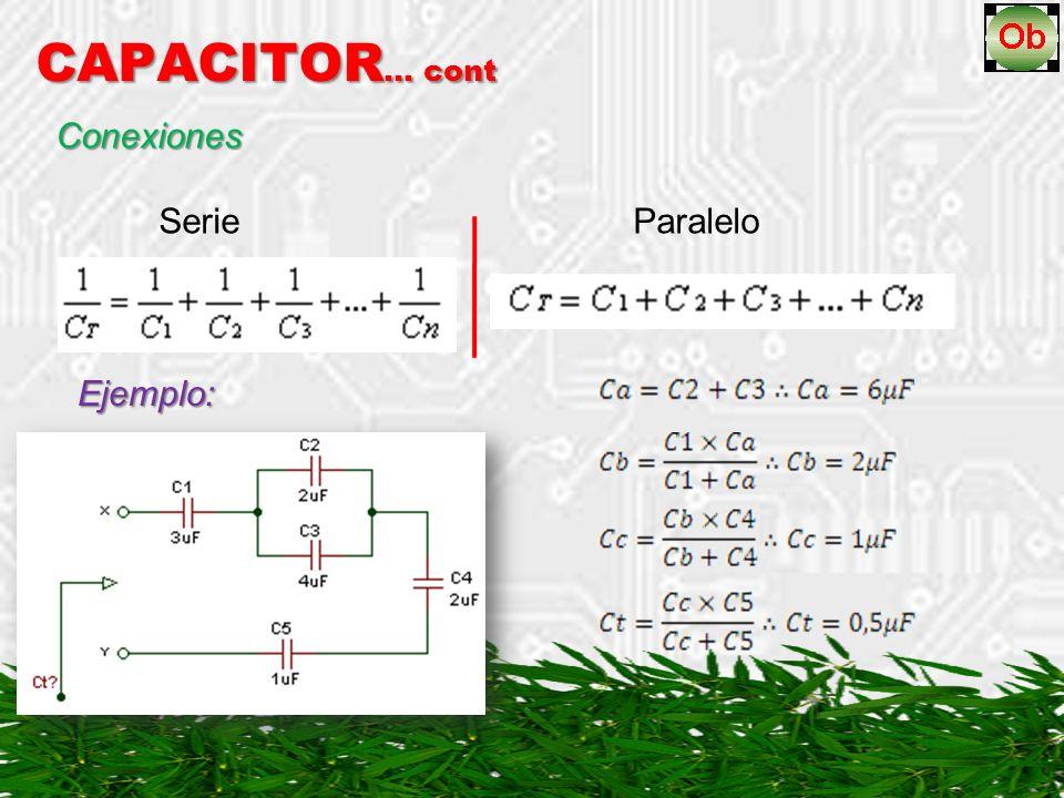 CAPACITOR … cont Conexiones Serie Paralelo Ejemplo:
