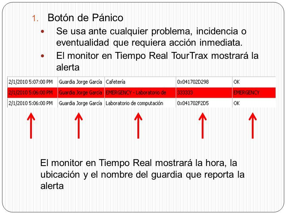 1. Botón de Pánico Se usa ante cualquier problema, incidencia o eventualidad que requiera acción inmediata. El monitor en Tiempo Real TourTrax mostrar