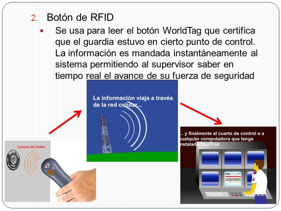 2. Botón de RFID Se usa para leer el botón WorldTag que certifica que el guardia estuvo en cierto punto de control. La información es mandada instantá