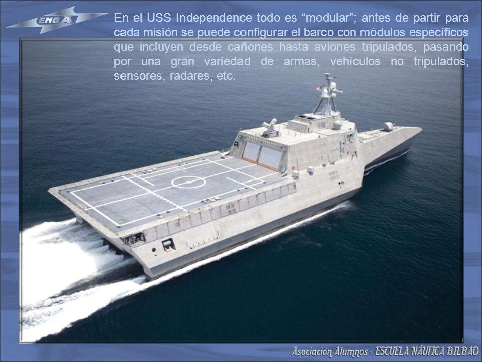 En el USS Independence todo es modular; antes de partir para cada misión se puede configurar el barco con módulos específicos que incluyen desde cañones hasta aviones tripulados, pasando por una gran variedad de armas, vehículos no tripulados, sensores, radares, etc.