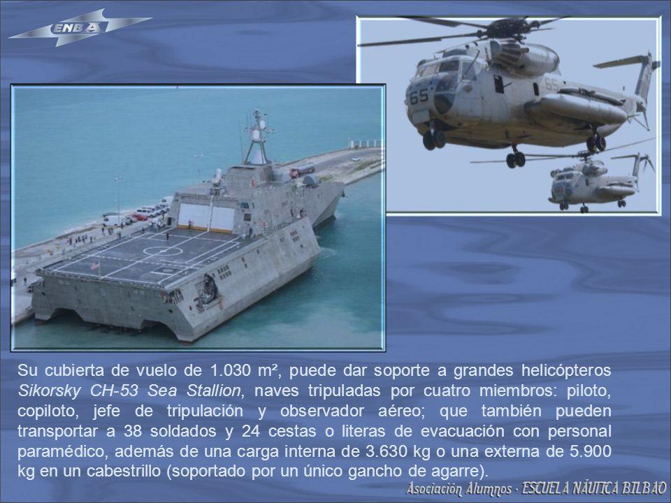 Su cubierta de vuelo de 1.030 m², puede dar soporte a grandes helicópteros Sikorsky CH-53 Sea Stallion, naves tripuladas por cuatro miembros: piloto, copiloto, jefe de tripulación y observador aéreo; que también pueden transportar a 38 soldados y 24 cestas o literas de evacuación con personal paramédico, además de una carga interna de 3.630 kg o una externa de 5.900 kg en un cabestrillo (soportado por un único gancho de agarre).