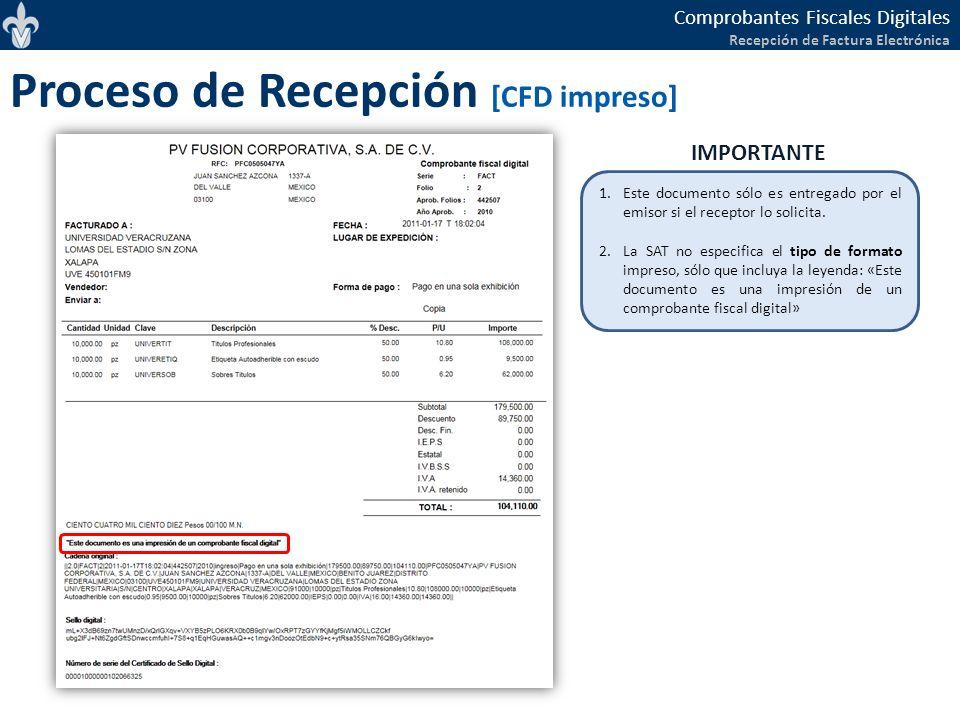 Comprobantes Fiscales Digitales Recepción de Factura Electrónica Proceso de Recepción [CFD impreso] 1.Este documento sólo es entregado por el emisor s