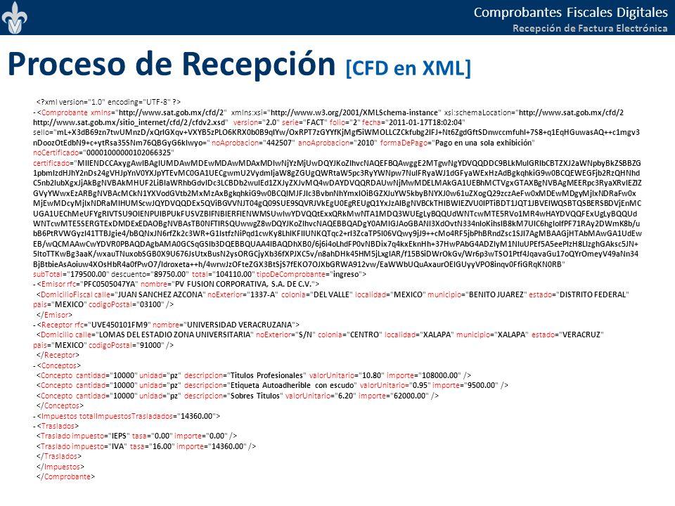 Comprobantes Fiscales Digitales Recepción de Factura Electrónica Proceso de Recepción [CFD en XML] - - - -