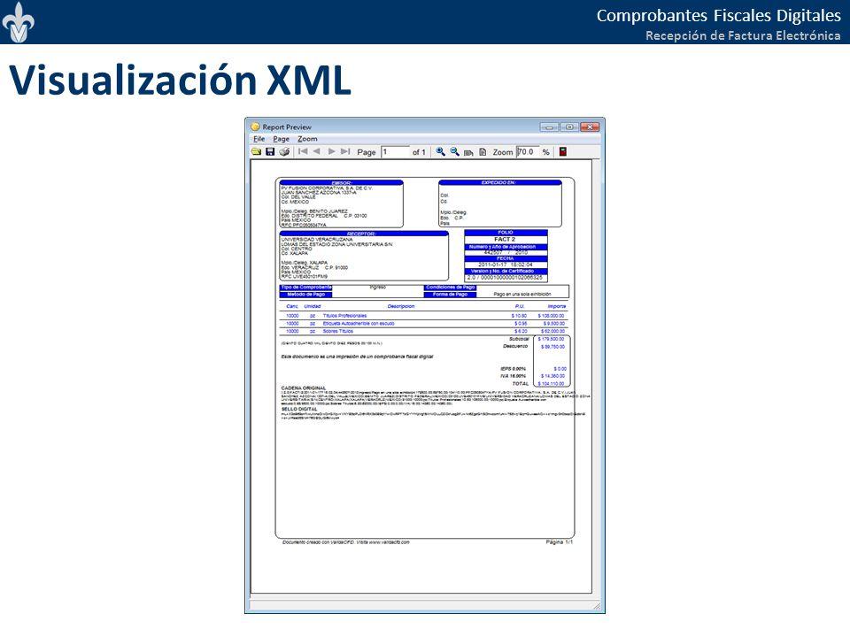 Comprobantes Fiscales Digitales Recepción de Factura Electrónica Visualización XML