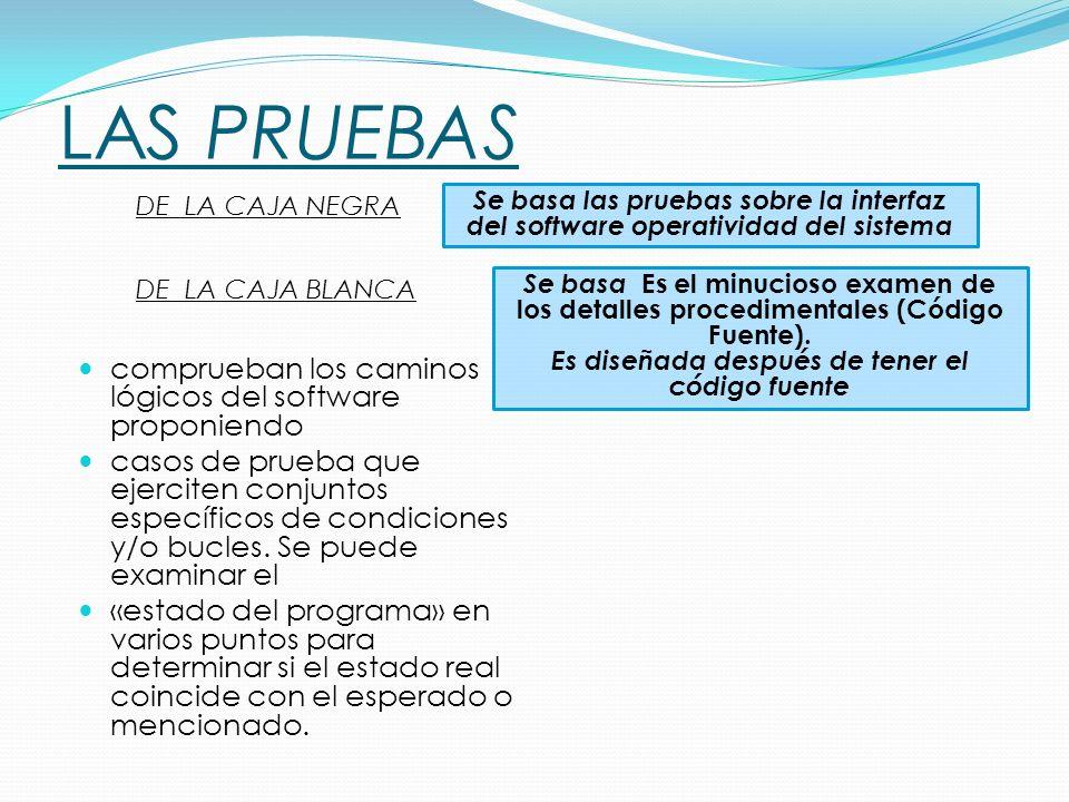 LAS PRUEBAS comprueban los caminos lógicos del software proponiendo casos de prueba que ejerciten conjuntos específicos de condiciones y/o bucles.