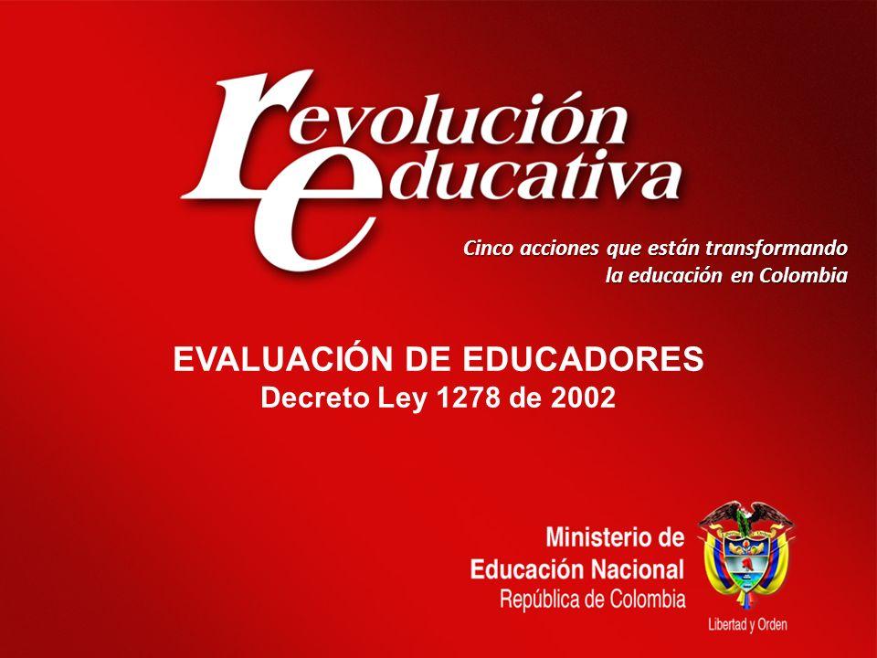 Cinco acciones que están transformando la educación en Colombia EVALUACIÓN DE EDUCADORES Decreto Ley 1278 de 2002