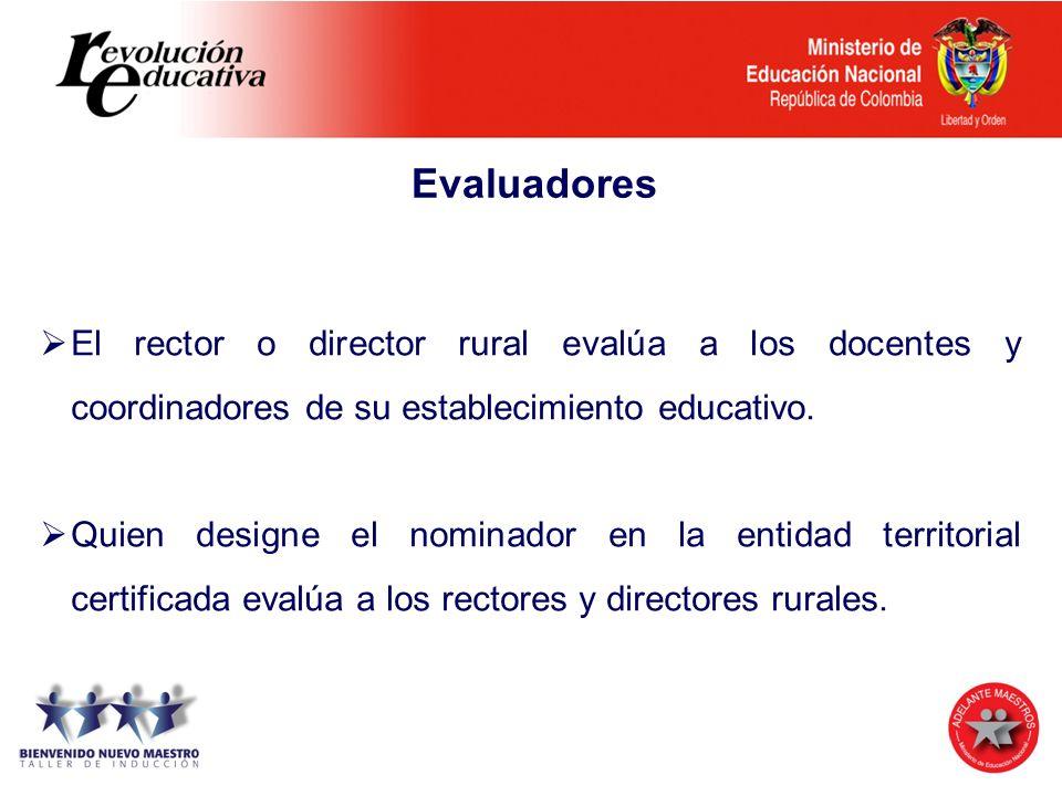 Evaluadores El rector o director rural evalúa a los docentes y coordinadores de su establecimiento educativo. Quien designe el nominador en la entidad