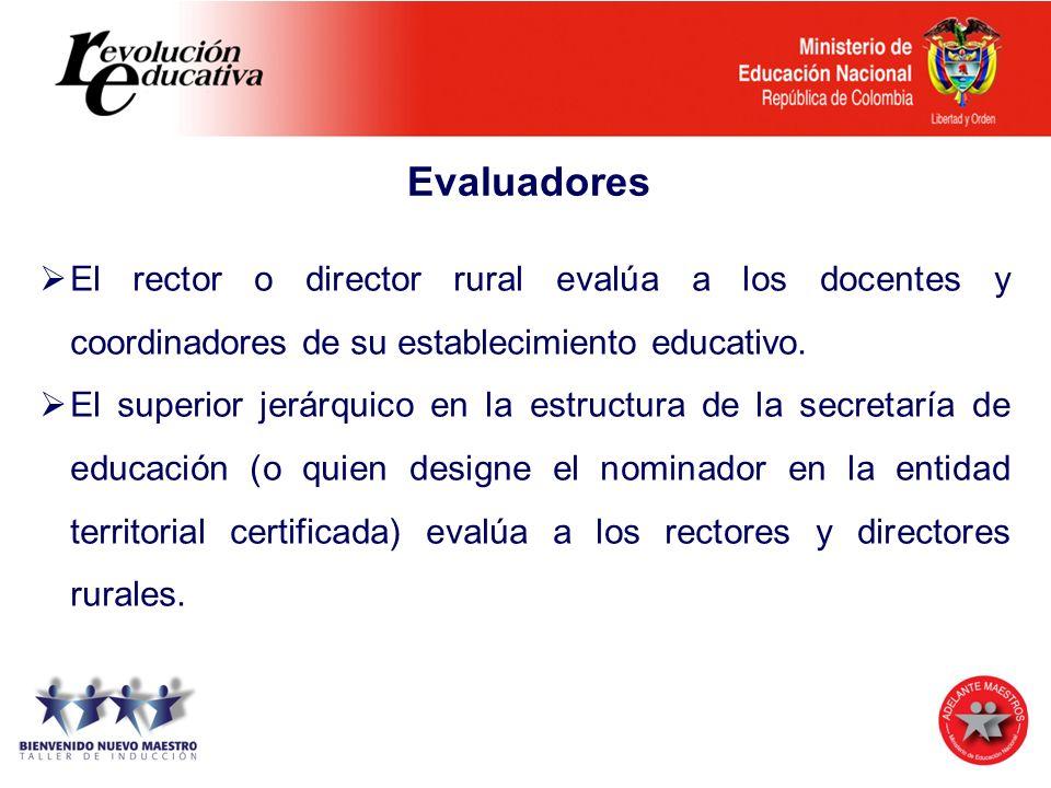 Evaluadores El rector o director rural evalúa a los docentes y coordinadores de su establecimiento educativo. El superior jerárquico en la estructura