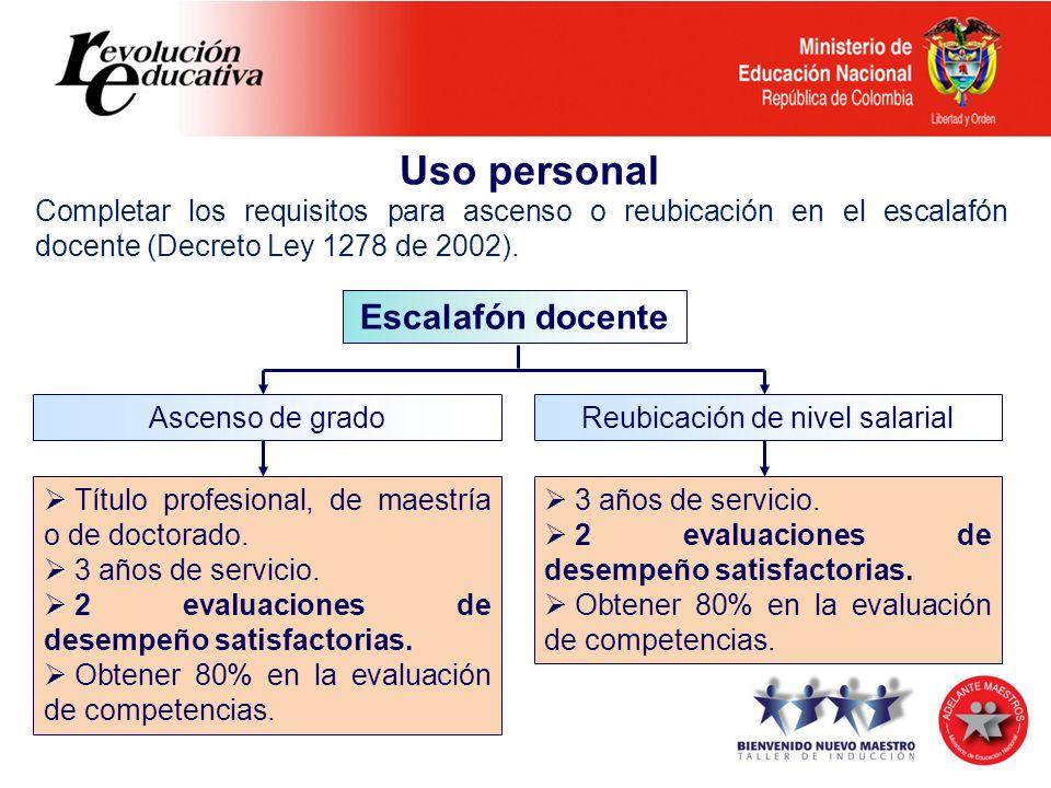 Uso personal Completar los requisitos para ascenso o reubicación en el escalafón docente (Decreto Ley 1278 de 2002). Escalafón docente Ascenso de grad