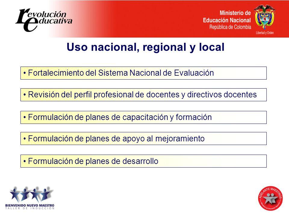 Uso nacional, regional y local Fortalecimiento del Sistema Nacional de Evaluación Revisión del perfil profesional de docentes y directivos docentes Fo
