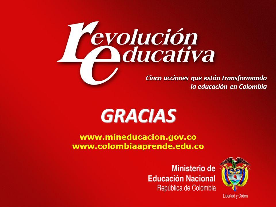 GRACIAS www.mineducacion.gov.co www.colombiaaprende.edu.co Cinco acciones que están transformando la educación en Colombia