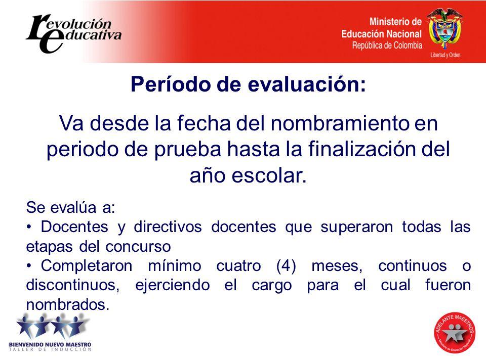 Período de evaluación: Va desde la fecha del nombramiento en periodo de prueba hasta la finalización del año escolar. Se evalúa a: Docentes y directiv