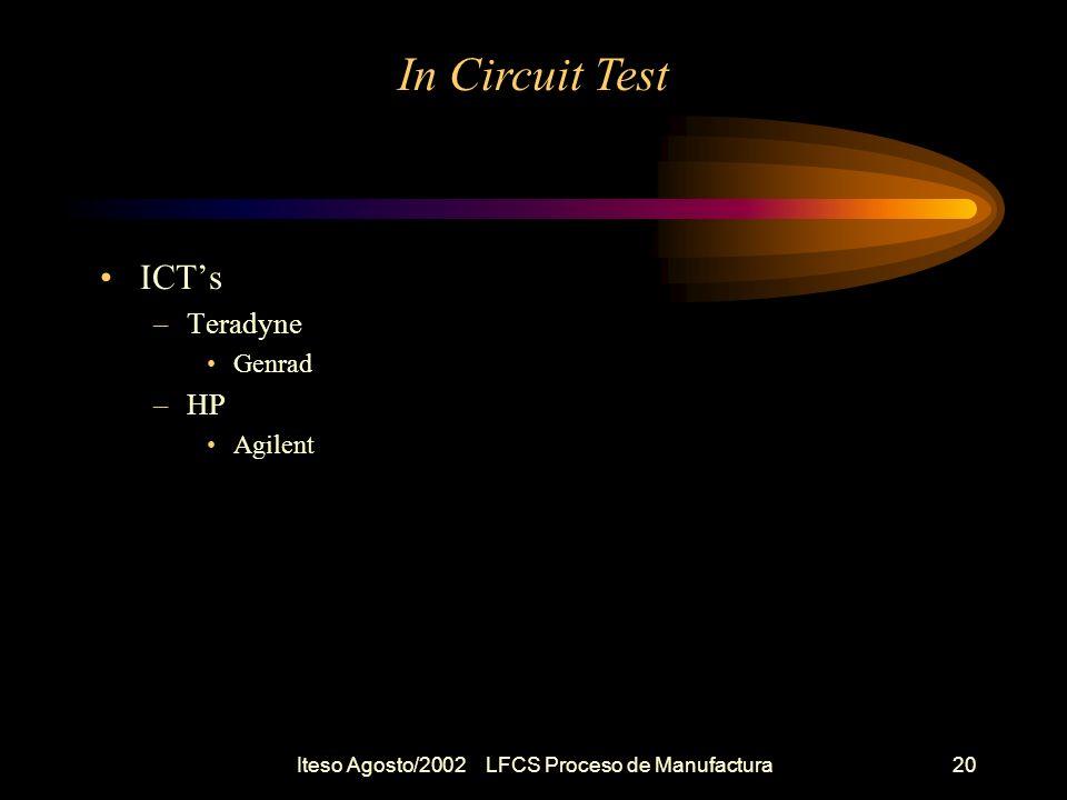 Iteso Agosto/2002 LFCS Proceso de Manufactura21 In Circuit Test Tarea –Investigar ICTs Modelos Caracteristicas relevantes Diferentes Opciones