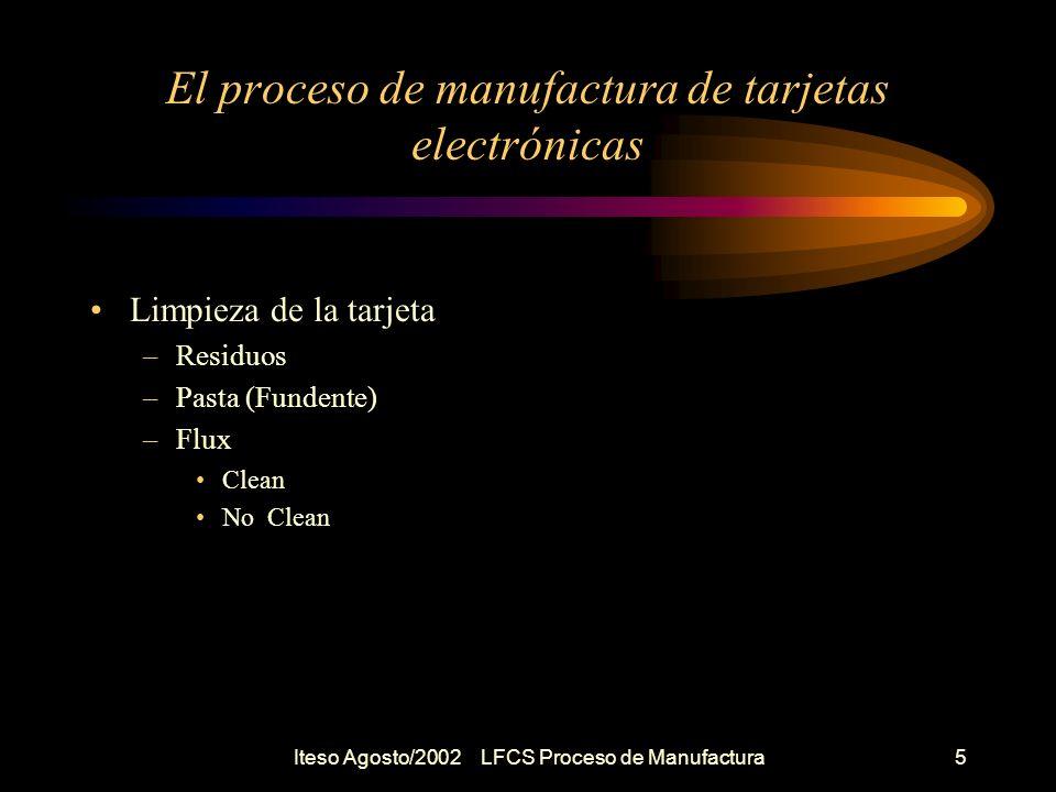 Iteso Agosto/2002 LFCS Proceso de Manufactura6 El proceso de manufactura de tarjetas electrónicas Prueba e Inspección de la tarjeta –Necesaria –Visual VentajasDesventajas BarataNo hay colección de datos No equipoLenta