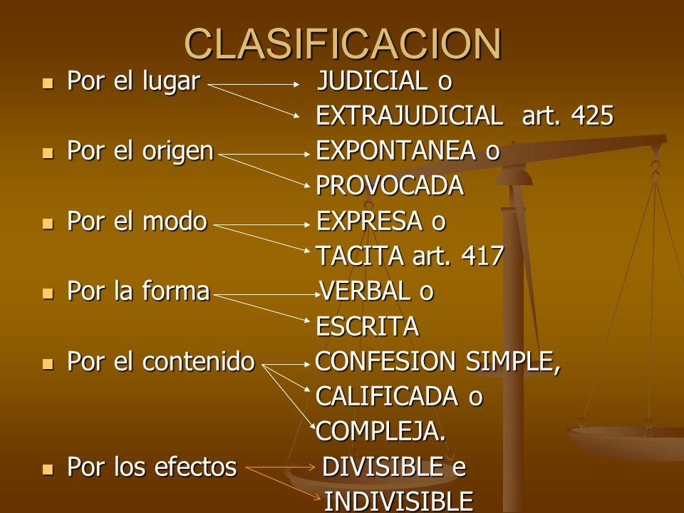 CONFESION FICTA ART.417 C.P.N.: ART.