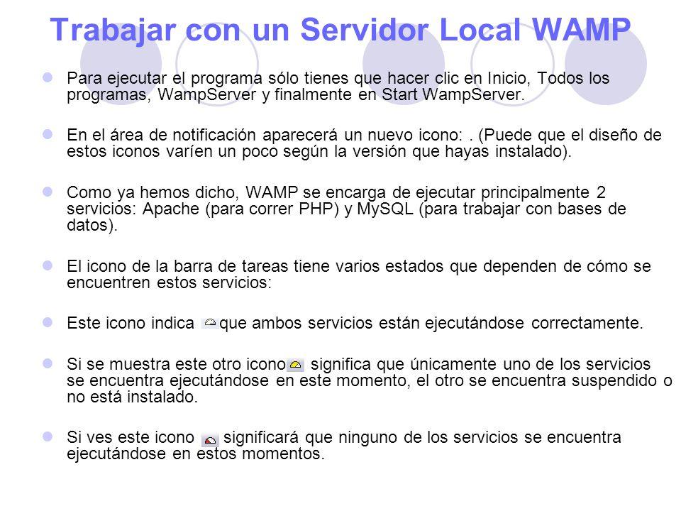 Trabajar con un Servidor Local WAMP Para ejecutar el programa sólo tienes que hacer clic en Inicio, Todos los programas, WampServer y finalmente en Start WampServer.