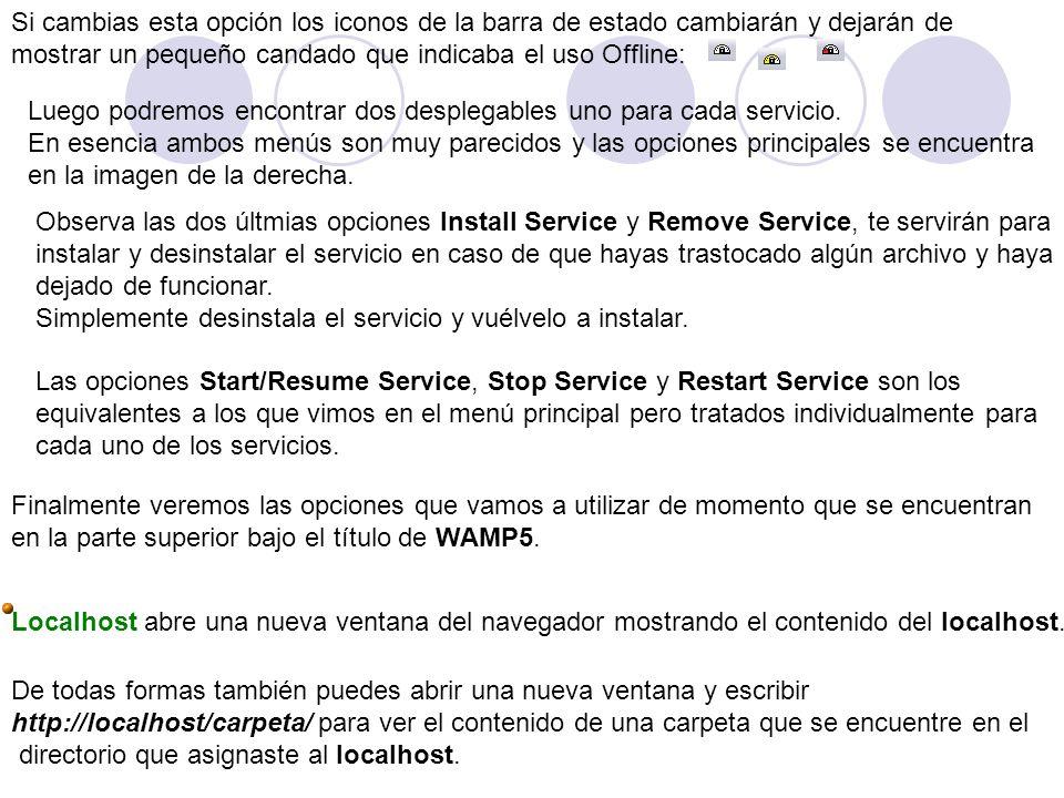 Si cambias esta opción los iconos de la barra de estado cambiarán y dejarán de mostrar un pequeño candado que indicaba el uso Offline: Luego podremos encontrar dos desplegables uno para cada servicio.