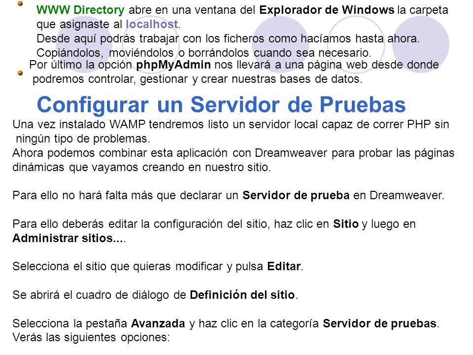 WWW Directory abre en una ventana del Explorador de Windows la carpeta que asignaste al localhost. Desde aquí podrás trabajar con los ficheros como ha