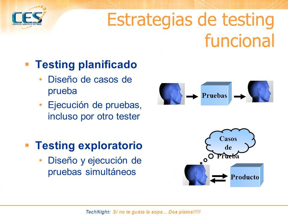 TechNight: Si no te gusta la sopa… Dos platos!!!!! Estrategias de testing funcional Testing planificado Diseño de casos de prueba Ejecución de pruebas