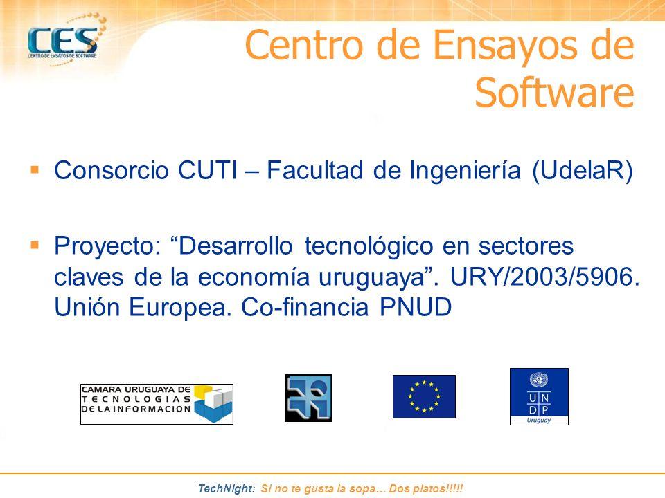 TechNight: Si no te gusta la sopa… Dos platos!!!!! Consorcio CUTI – Facultad de Ingeniería (UdelaR) Proyecto: Desarrollo tecnológico en sectores clave