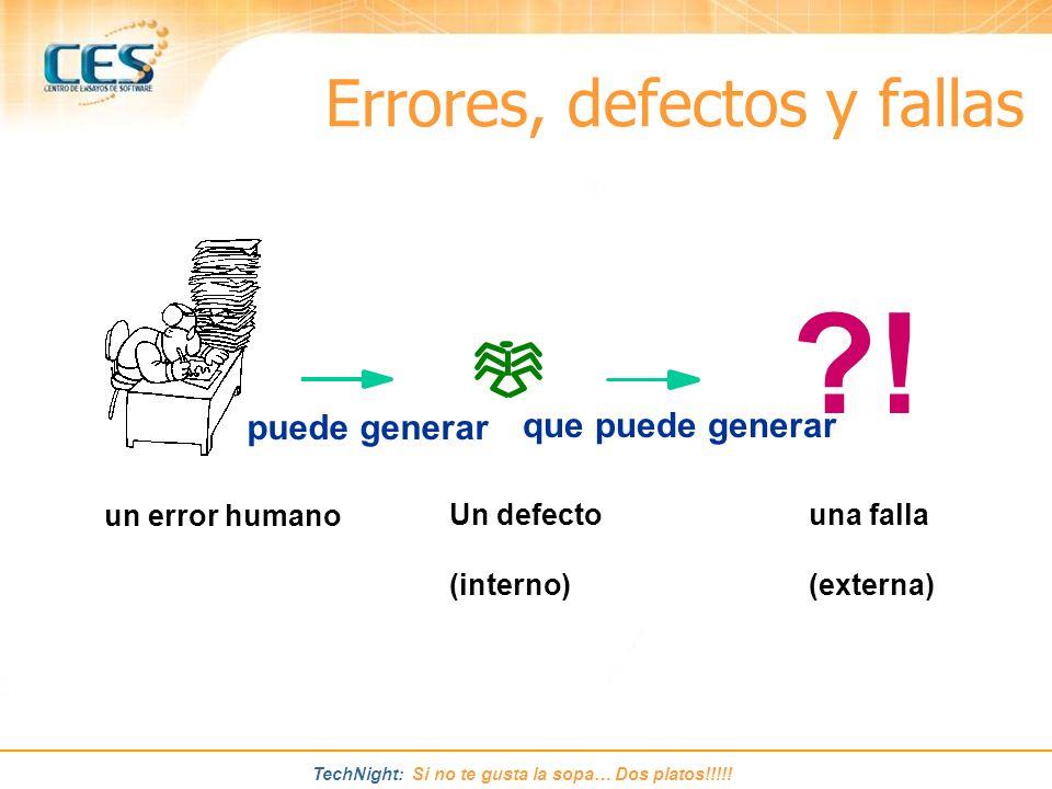 TechNight: Si no te gusta la sopa… Dos platos!!!!! ?! un error humano Un defecto (interno) una falla (externa) puede generar que puede generar Errores