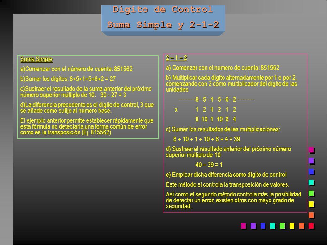 Dígito de Control Suma Simple y 2-1-2 Suma Simple a)Comenzar con el número de cuenta: 851562 b)Sumar los dígitos: 8+5+1+5+6+2 = 27 c)Sustraer el resul