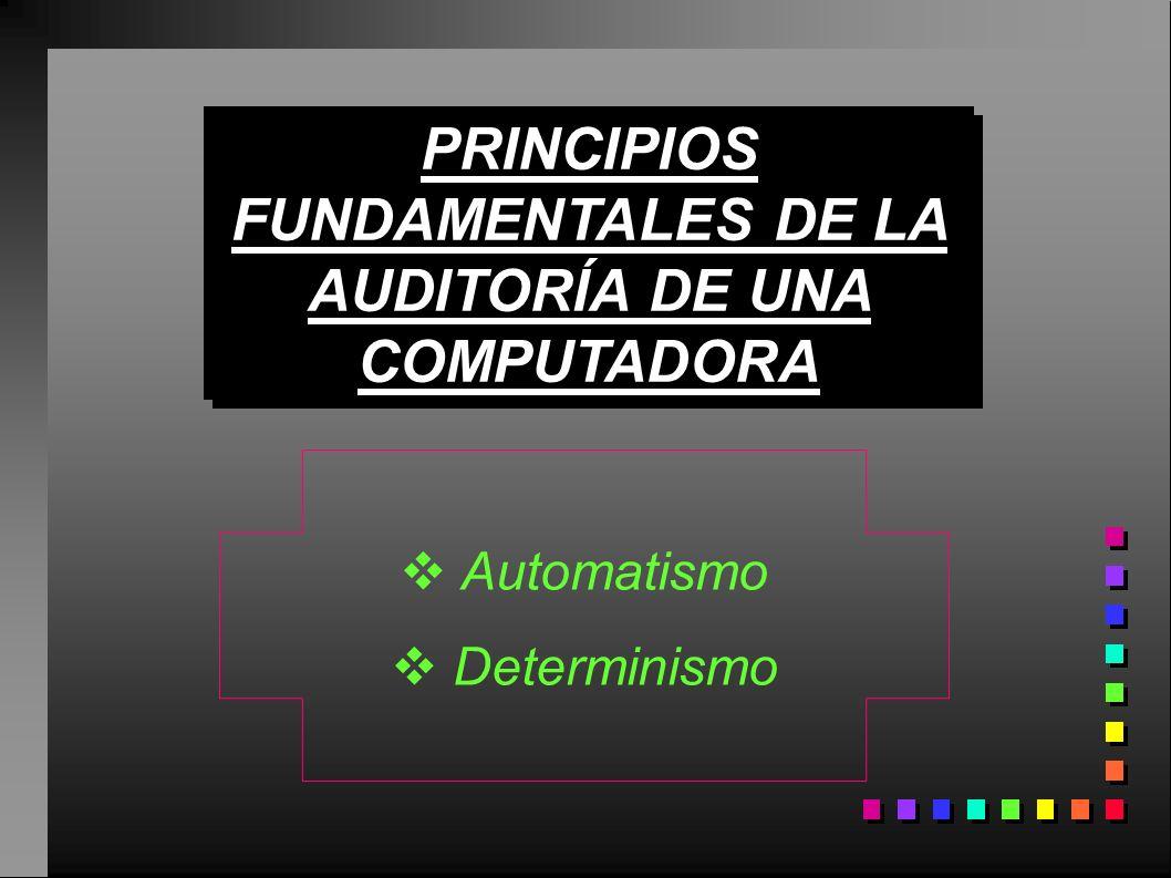 PRINCIPIOS FUNDAMENTALES DE LA AUDITORÍA DE UNA COMPUTADORA Automatismo Determinismo