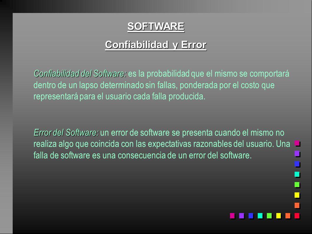SOFTWARE Confiabilidad y Error Confiabilidad del Software: Confiabilidad del Software: es la probabilidad que el mismo se comportará dentro de un laps
