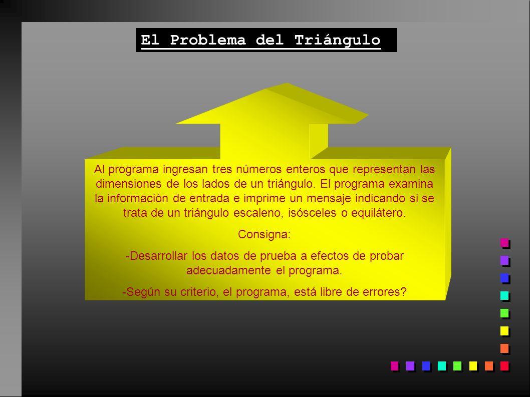 El Problema del Triángulo Al programa ingresan tres números enteros que representan las dimensiones de los lados de un triángulo. El programa examina