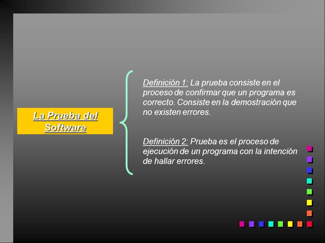 La Prueba del Software Definición 1: La prueba consiste en el proceso de confirmar que un programa es correcto. Consiste en la demostración que no exi