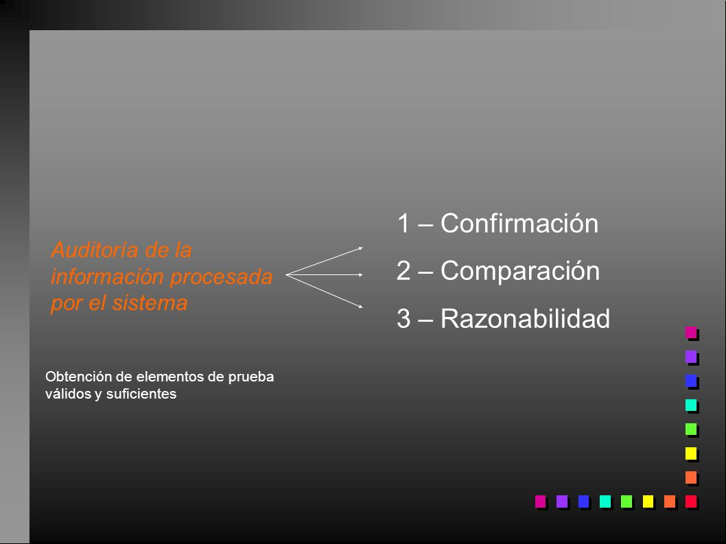 Auditoría de la información procesada por el sistema Obtención de elementos de prueba válidos y suficientes 1 – Confirmación 2 – Comparación 3 – Razon
