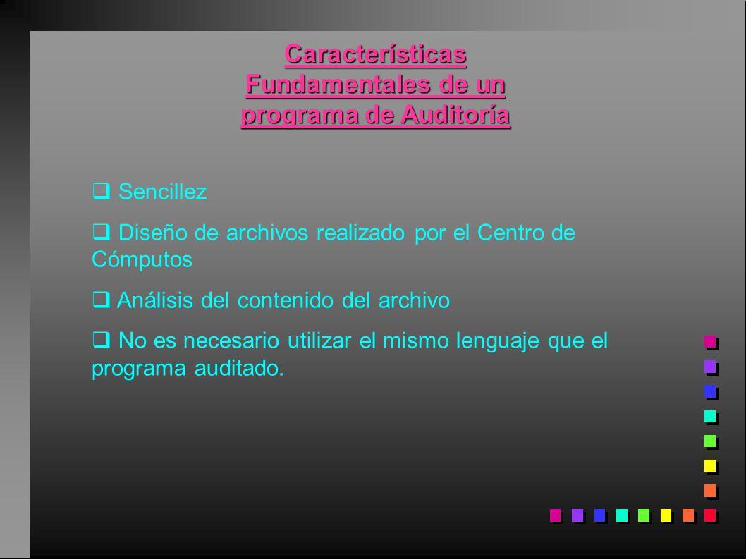 Características Fundamentales de un programa de Auditoría Sencillez Diseño de archivos realizado por el Centro de Cómputos Análisis del contenido del