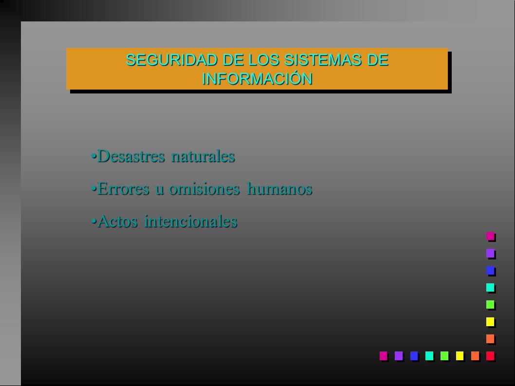 Desastres naturalesDesastres naturales Errores u omisiones humanosErrores u omisiones humanos Actos intencionalesActos intencionales SEGURIDAD DE LOS