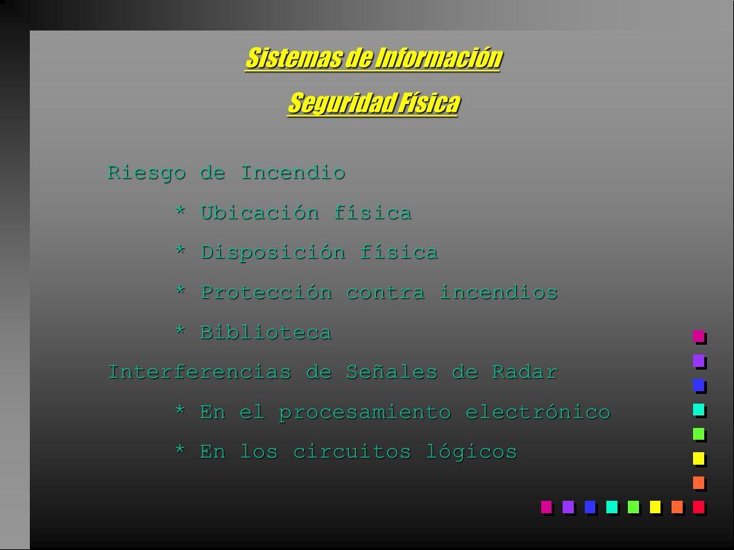 Sistemas de Información Seguridad Física Riesgo de Incendio * Ubicación física * Disposición física * Protección contra incendios * Biblioteca Interfe