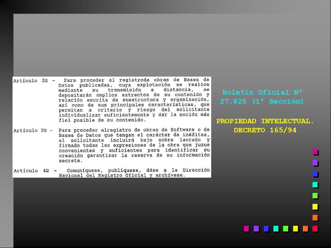 Boletín Oficial Nº 27.825 (1º Sección) PROPIEDAD INTELECTUAL. DECRETO 165/94