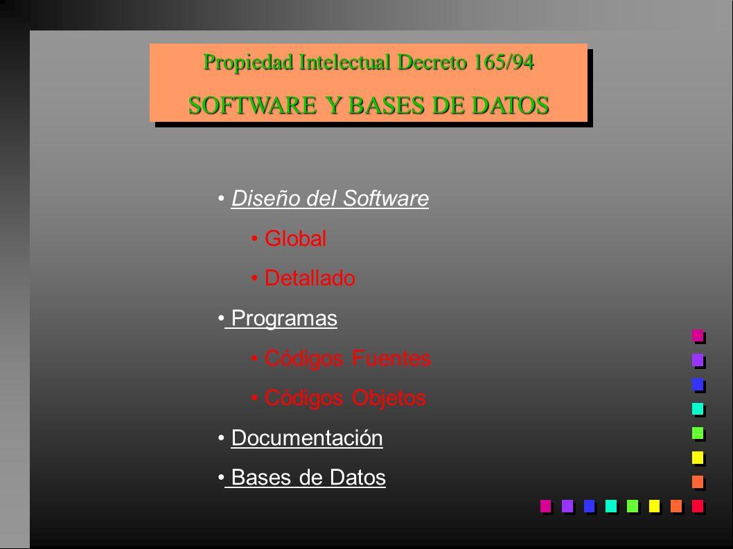 Propiedad Intelectual Decreto 165/94 SOFTWARE Y BASES DE DATOS Propiedad Intelectual Decreto 165/94 SOFTWARE Y BASES DE DATOS Diseño del Software Glob