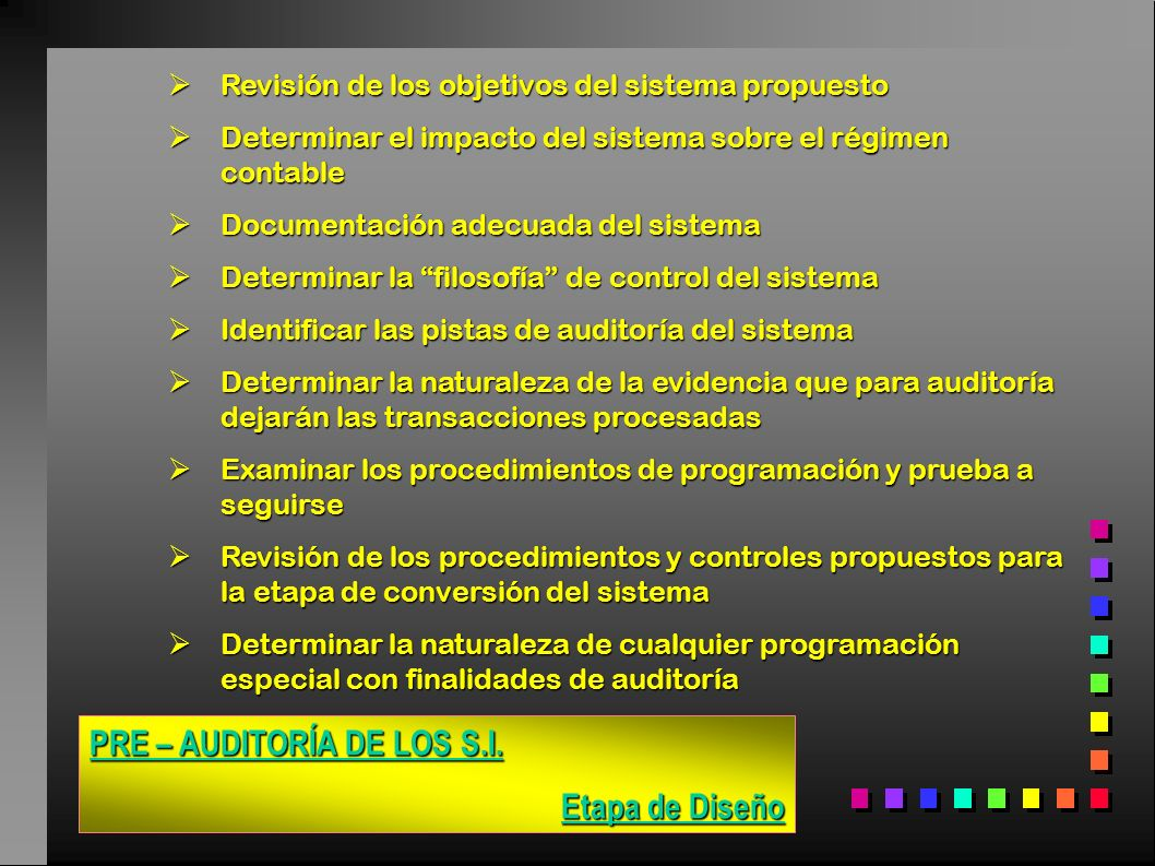 PRE – AUDITORÍA DE LOS S.I. Etapa de Diseño Revisión de los objetivos del sistema propuesto Revisión de los objetivos del sistema propuesto Determinar