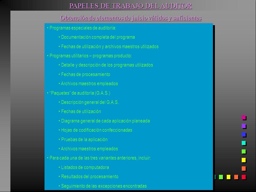 PAPELES DE TRABAJO DEL AUDITOR Obtención de elementos de juicio válidos y suficientes Programas especiales de auditoría: Documentación completa del pr