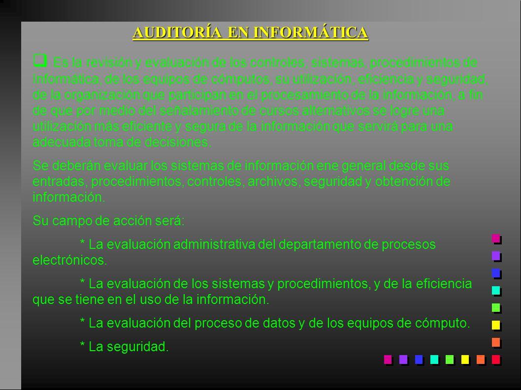 AUDITORÍA EN INFORMÁTICA Es la revisión y evaluación de los controles, sistemas, procedimientos de Informática, de los equipos de cómputos, su utiliza