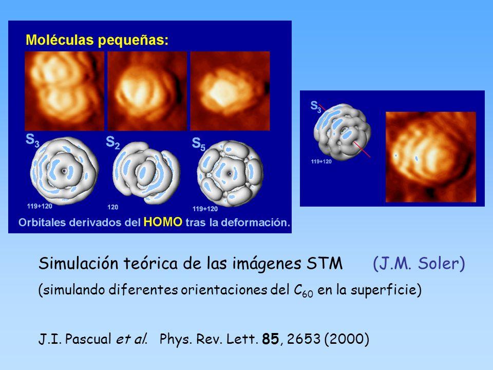Simulación teórica de las imágenes STM (J.M. Soler) (simulando diferentes orientaciones del C 60 en la superficie) J.I. Pascual et al. Phys. Rev. Lett