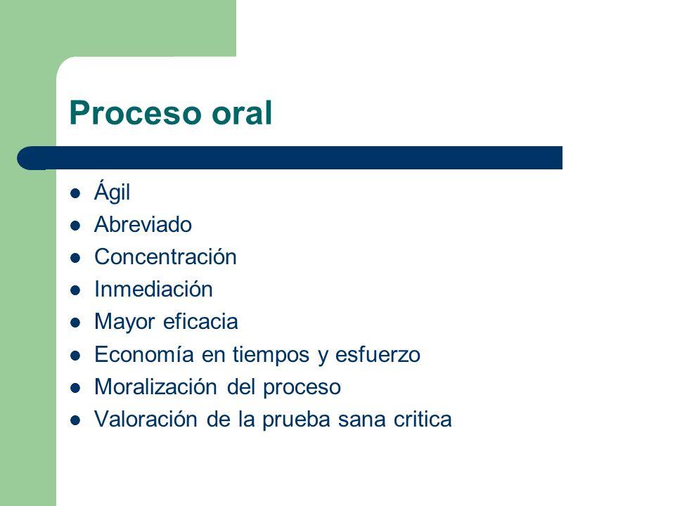 Proceso oral Ágil Abreviado Concentración Inmediación Mayor eficacia Economía en tiempos y esfuerzo Moralización del proceso Valoración de la prueba s