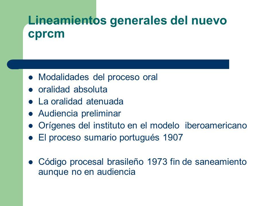 Lineamientos generales del nuevo cprcm Modalidades del proceso oral oralidad absoluta La oralidad atenuada Audiencia preliminar Orígenes del instituto