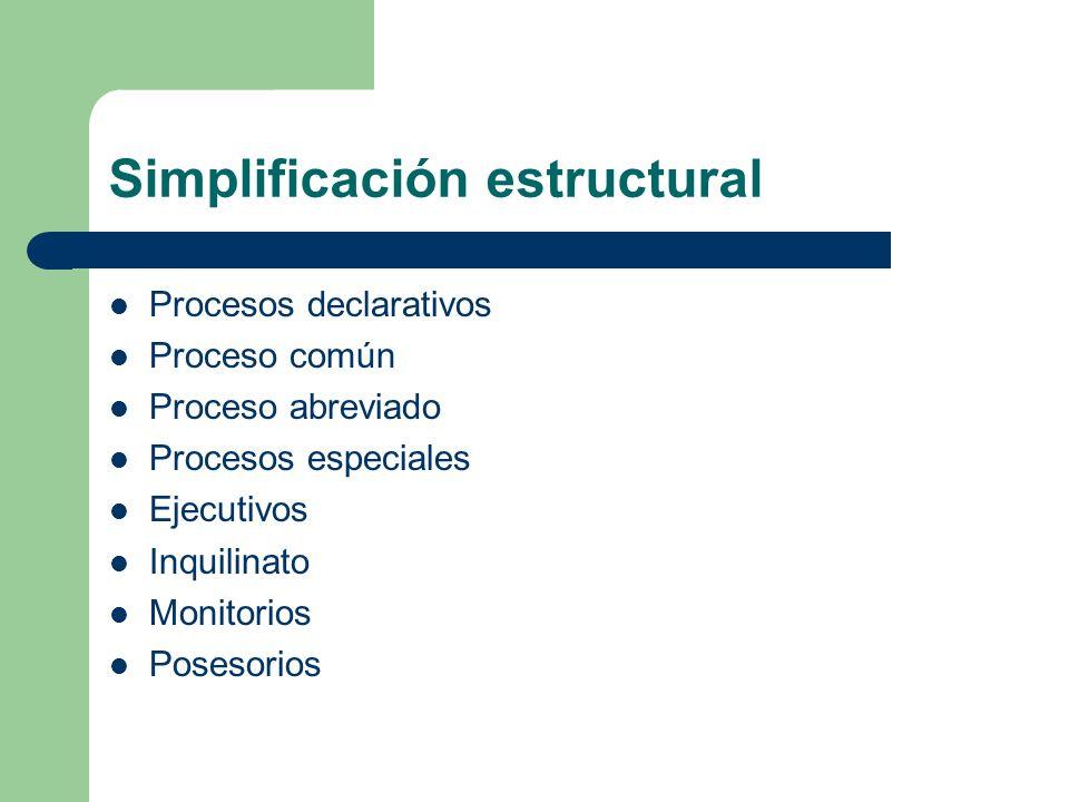 Simplificación estructural Procesos declarativos Proceso común Proceso abreviado Procesos especiales Ejecutivos Inquilinato Monitorios Posesorios