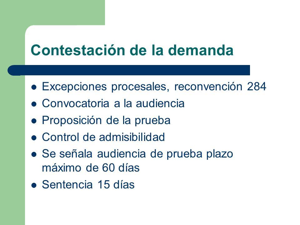 Contestación de la demanda Excepciones procesales, reconvención 284 Convocatoria a la audiencia Proposición de la prueba Control de admisibilidad Se s