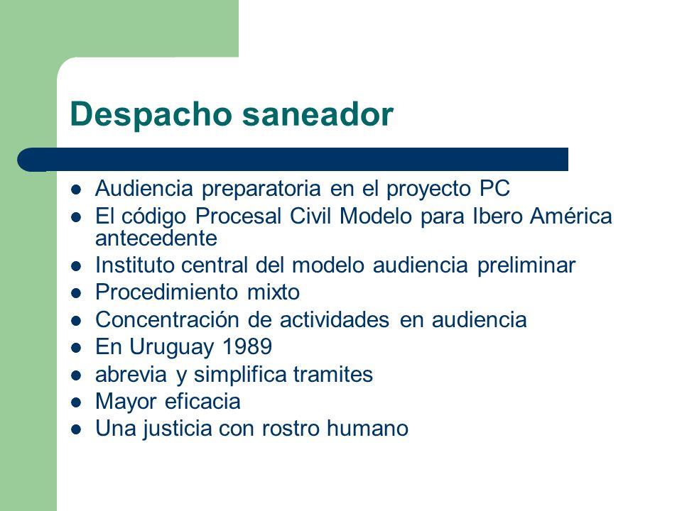 Despacho saneador Audiencia preparatoria en el proyecto PC El código Procesal Civil Modelo para Ibero América antecedente Instituto central del modelo