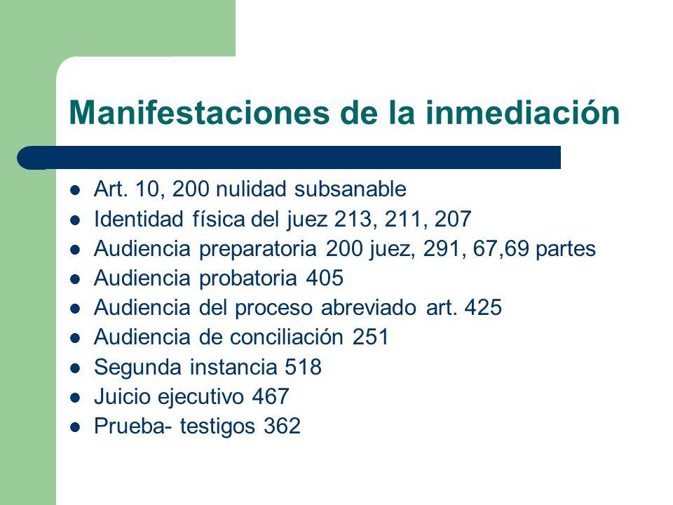 Manifestaciones de la inmediación Art. 10, 200 nulidad subsanable Identidad física del juez 213, 211, 207 Audiencia preparatoria 200 juez, 291, 67,69