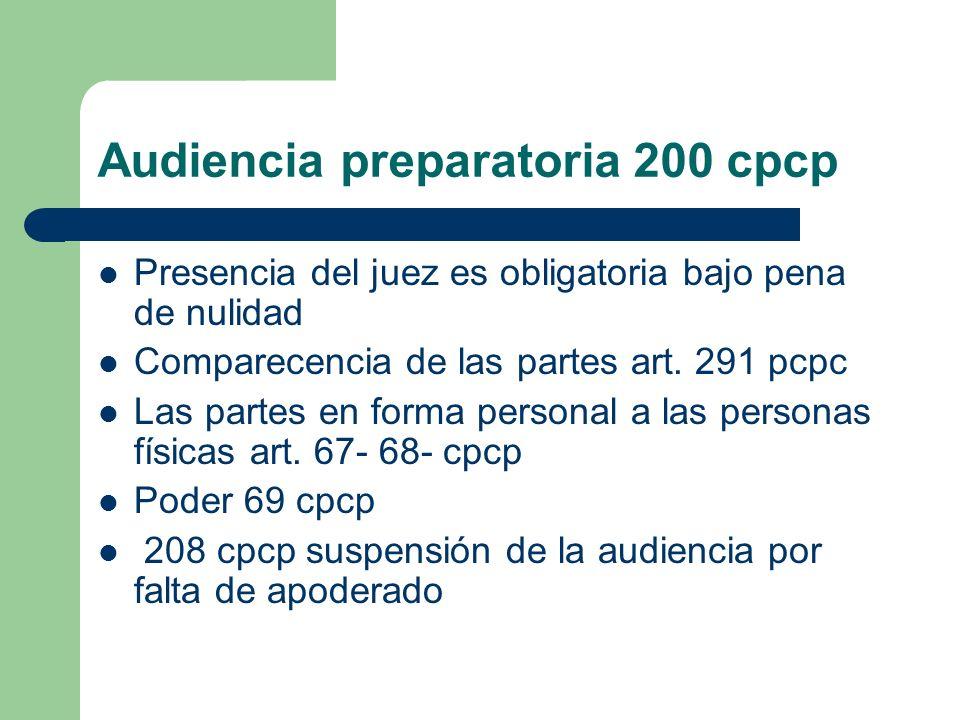 Audiencia preparatoria 200 cpcp Presencia del juez es obligatoria bajo pena de nulidad Comparecencia de las partes art. 291 pcpc Las partes en forma p