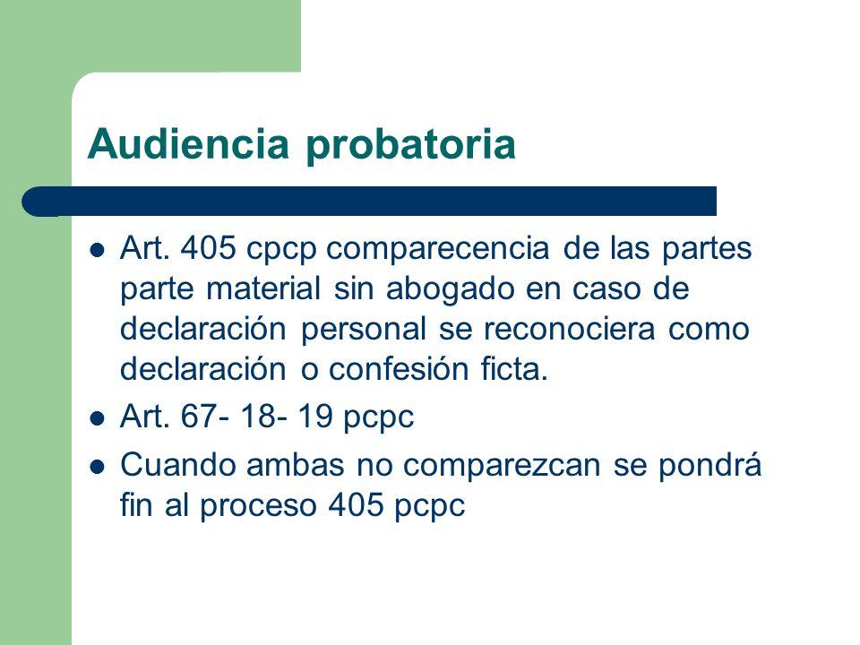 Audiencia probatoria Art. 405 cpcp comparecencia de las partes parte material sin abogado en caso de declaración personal se reconociera como declarac