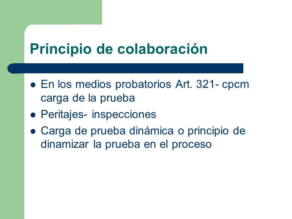 Principio de colaboración En los medios probatorios Art. 321- cpcm carga de la prueba Peritajes- inspecciones Carga de prueba dinámica o principio de